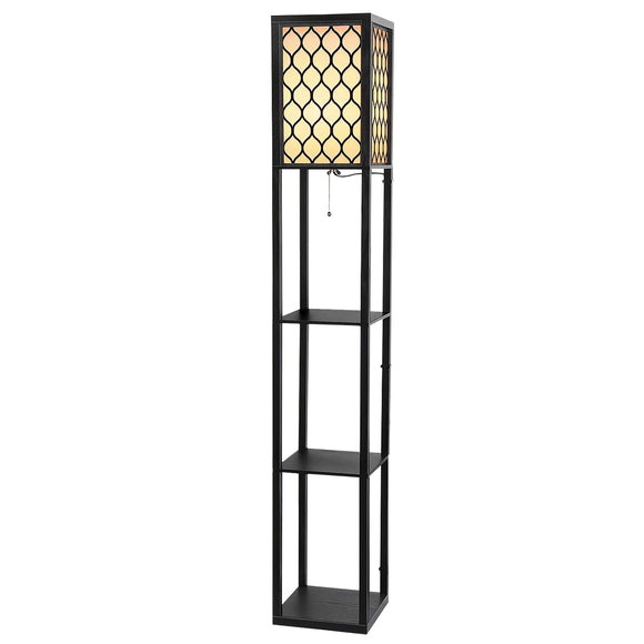 Patterned Floor Lamp with Shelves Black