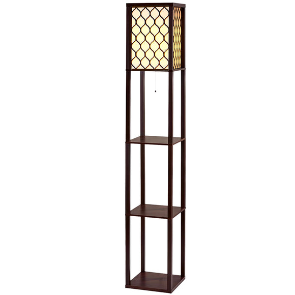 Patterned Floor Lamp with Shelves Brown