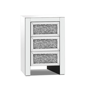 Bedside Table Nightstand Side End Tables Storage 3 Drawers Mirrored Glass Furniture