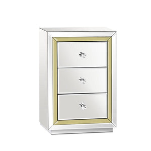 Mirrored with Gold Trim Bedside Table
