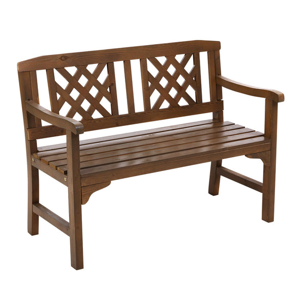 Classic Lattice Design Garden Bench Walnut Finish