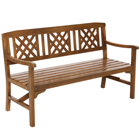 Large Classic Lattice Design Garden Bench Walnut Finish