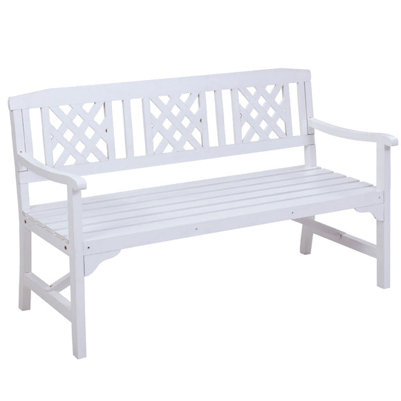 Large Classic Lattice Design Garden Bench White Finish