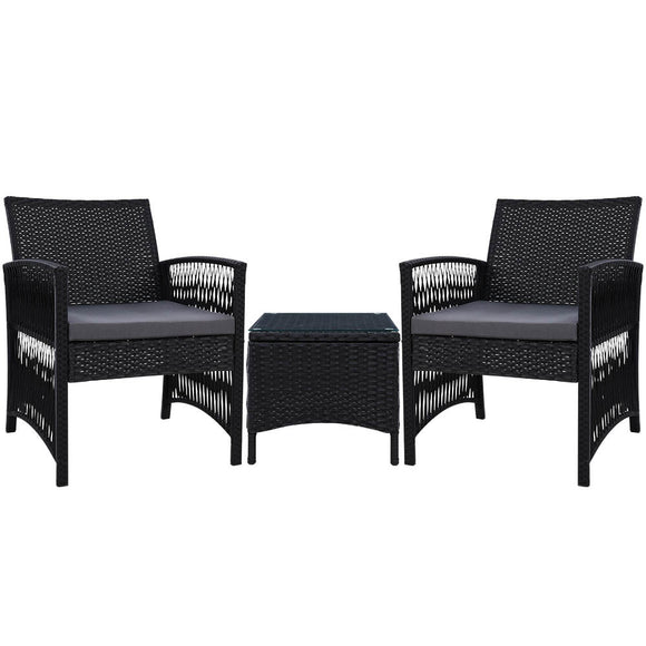Modern 'Harp' Outdoor 3 piece Wicker Set Black