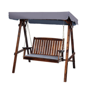 Wooden Garden Swing w Canopy 2 Seater Charcoal