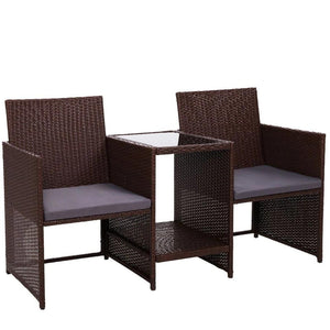💎 Modern Outdoor Love Seat Two Tier Glass Table Brown