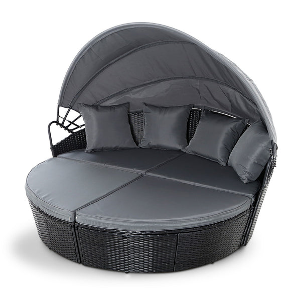 Stylish Outdoor Sunbed Lounge Patio with Canopy Black
