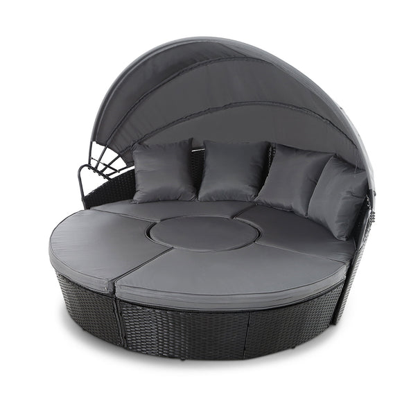 Stylish Outdoor Sunbed Lounge Patio Set with Canopy Black