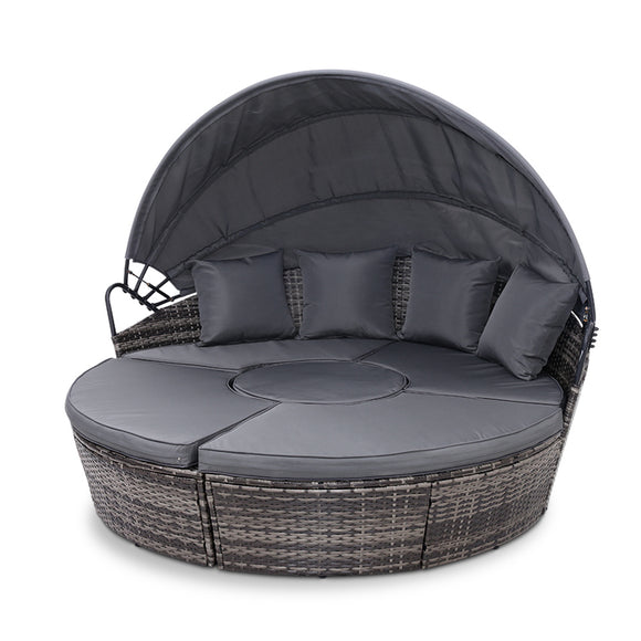 Stylish Outdoor Sunbed Lounge Patio Set with Canopy Grey