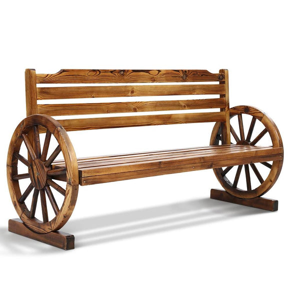 Classic Rustic Wagon Wheel Bench Walnut 142cm