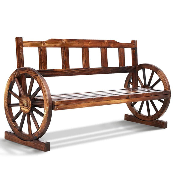 Classic Rustic Wagon Wheel Bench 142cm