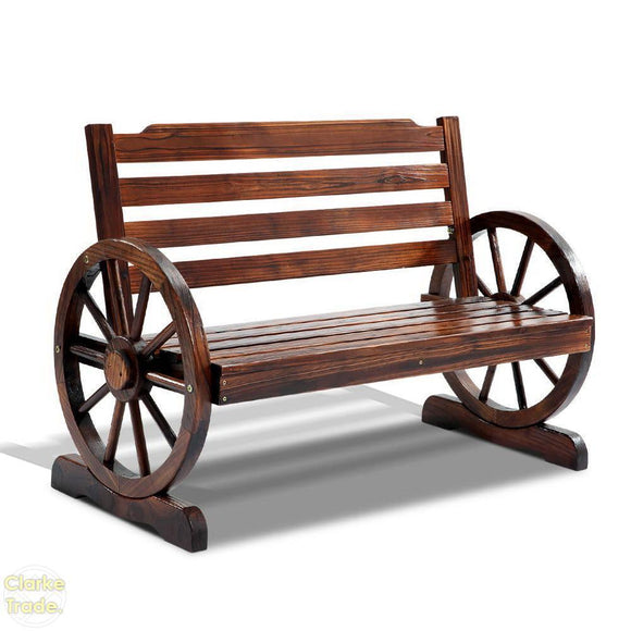 Rustic Outdoor Wagon Wheel Bench Oak 112cm