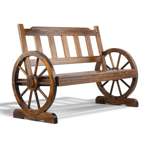 Rustic Outdoor Wagon Wheel Bench Walnut 112cm