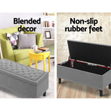 Elegant Premium Fabric Storage Ottoman Light Grey