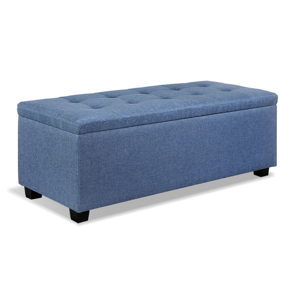 Multi-functional Faux Storage Ottoman Blue