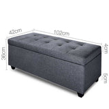 Fabric Multi Function Storage Ottoman Grey