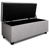 Fabric Multi Function Storage Ottoman Light Grey