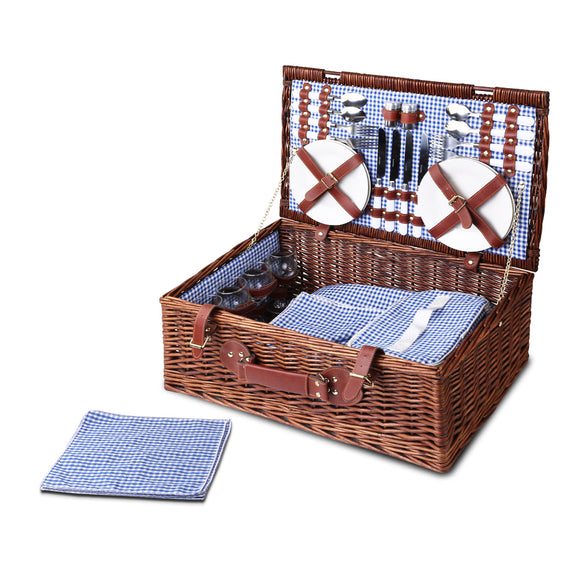 4 Person Lined Willow Picnic Basket & Accessories