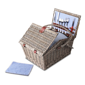 4 Person Deluxe Lined Willow Picnic Basket & Accessories