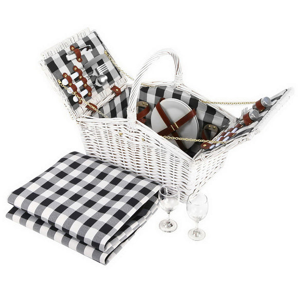 2 Person Deluxe Picnic Basket with Blanket and Accessories White