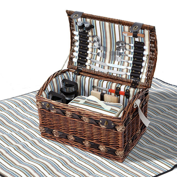 4 Person Alfresco Willow Picnic Basket w Blanket & Accessories