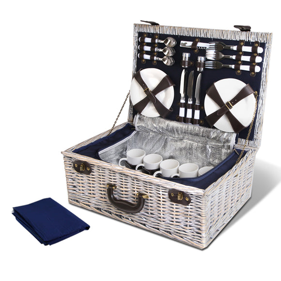 💎 6 Person Insulated Picnic Basket w Blanket & Accessories