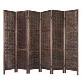Paulownia & Woven Willow Room Divider Privacy Screen 6 Panel