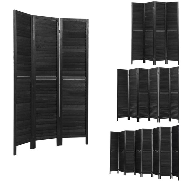 Rustic Wooden Room Divider Privacy Screen Black (3, 4, 6 or 8 Panel)