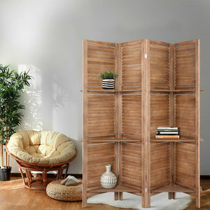 💎 Rustic Room Divider Privacy Screen Partition With Shelf Teak (4 or 8 Panel)