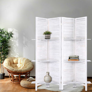 💎 Rustic Room Divider Privacy Screen Partition With Shelf White (4 or 8 Panel)