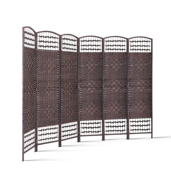 Classic Room Divider Privacy Screen Partition 6 Panel Brown 240cm