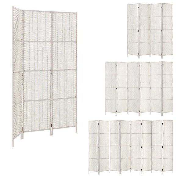 💎 Woven Rattan Room Divider Privacy Screen White (3, 4, 6 or 8 Panel)