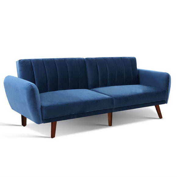 Velvet Symmetrical Lines 3 Seater Sofa Bed Blue 207cm