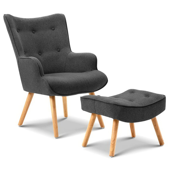 Pintuck Armchair with Ottoman Charcoal