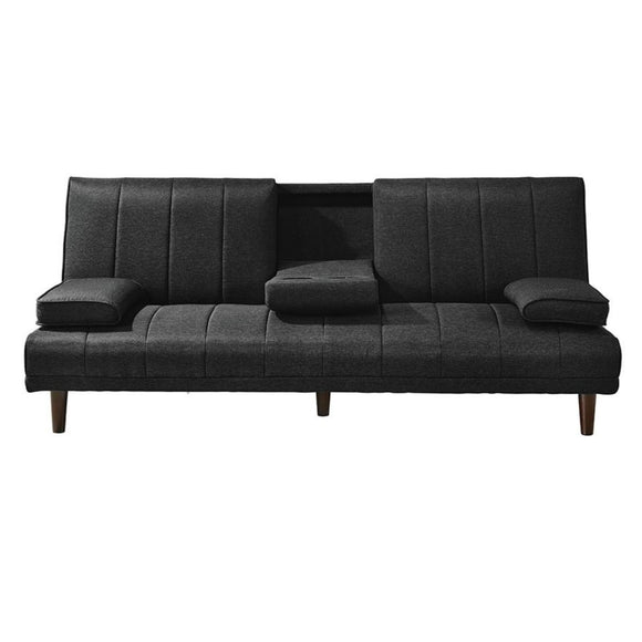 Luxury Sofa Bed with Cup Holders Charcoal