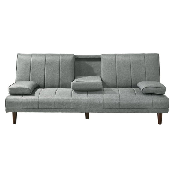 Luxury Sofa Bed with Cup Holders Light Grey