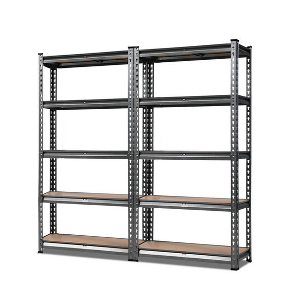 Set of Two 5 Tier Garage Shelving Unit Black or Grey 70 x 30 x 150