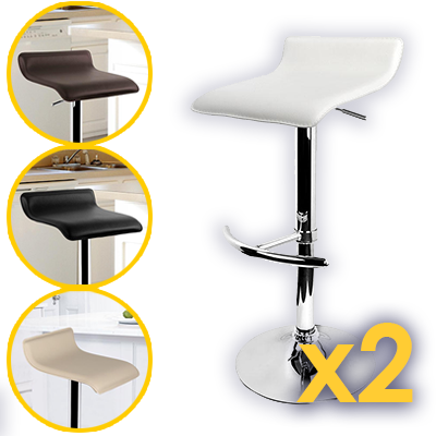 Modern Backless Gas Lift Bar Stools Set of 2