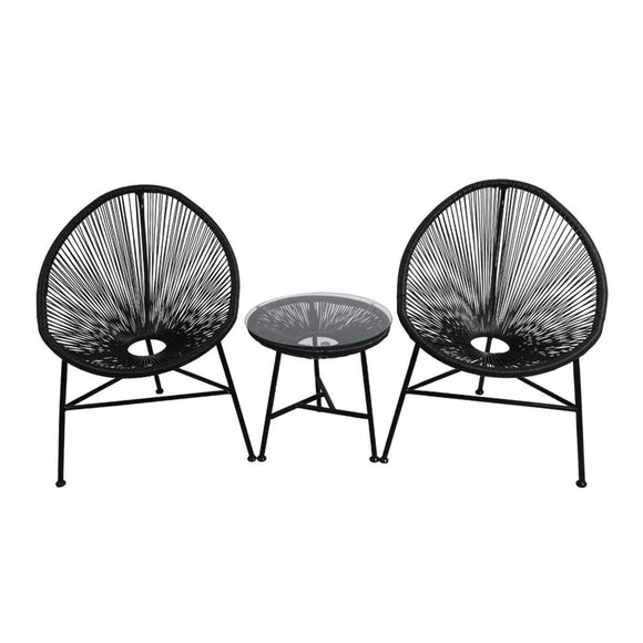 3 Piece Outdoor Set with Egg Chairs and Glass Table