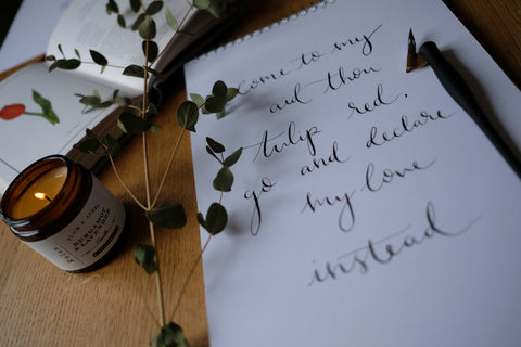 Calligraphy The Language of Flowers. My heart is smit with love so strong. Elder & Ivy
