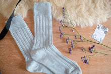 Alpaca Wool Bed Socks Blue