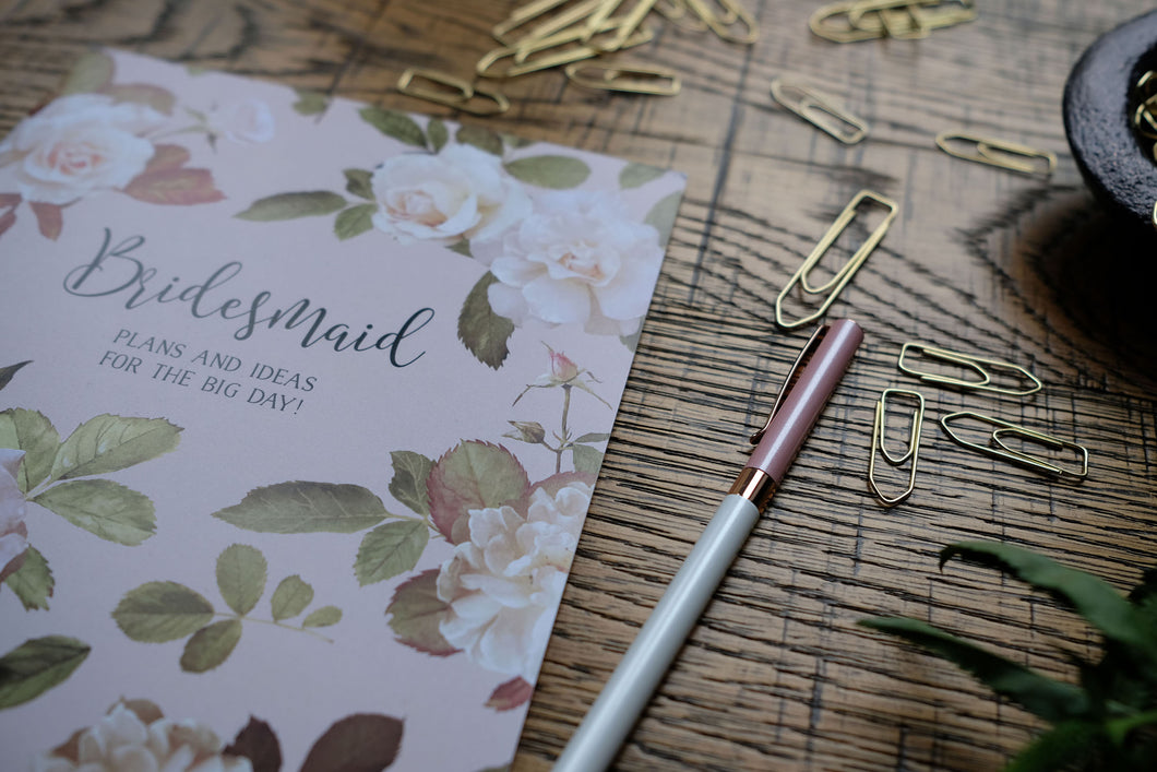 Bridesmaid English Garden Print Notebook