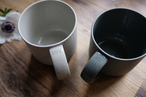 Handmade Mr And Mrs Ceramic Mug Set