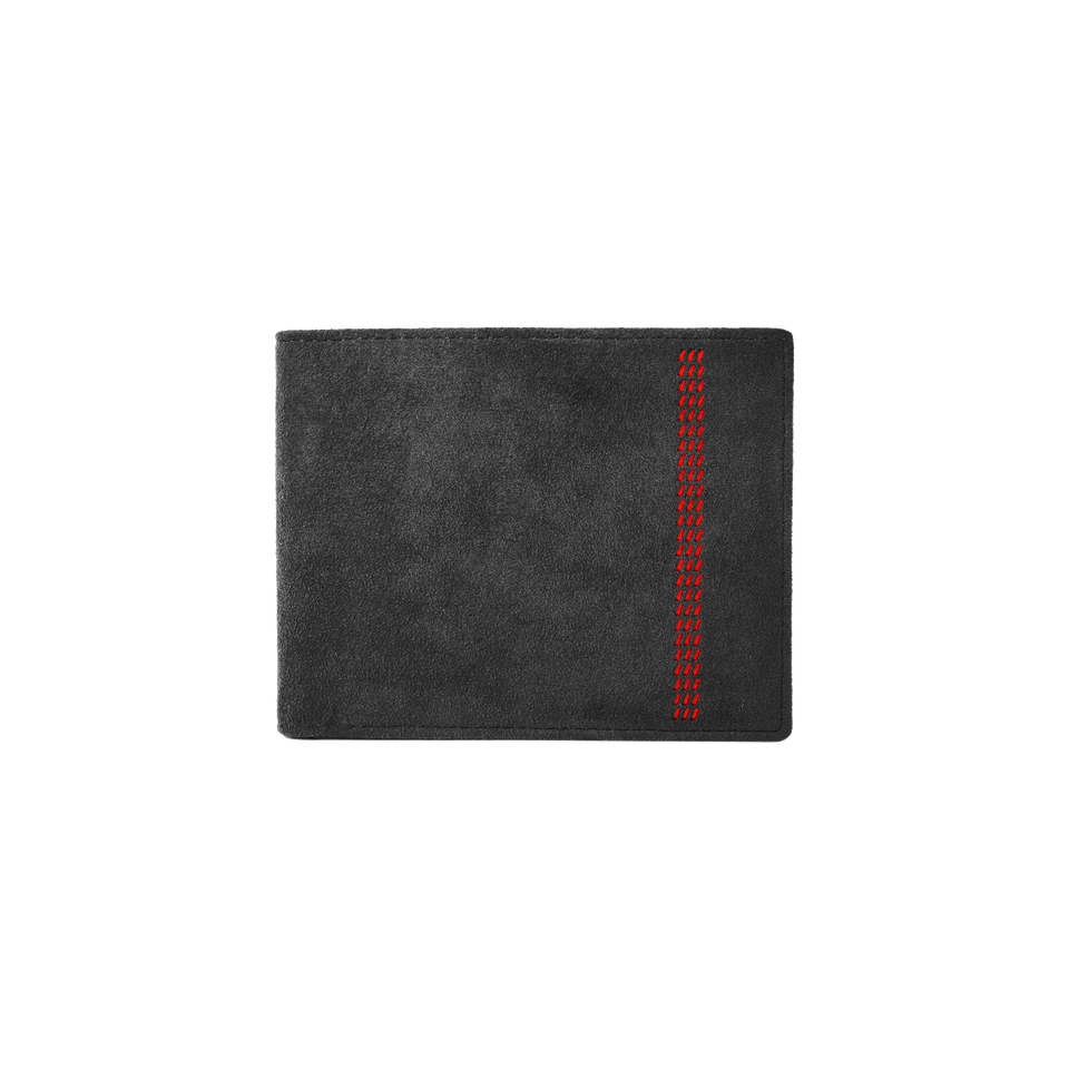 Alcantara Wallet with Red Stripe Embossing - INTERIOREX
