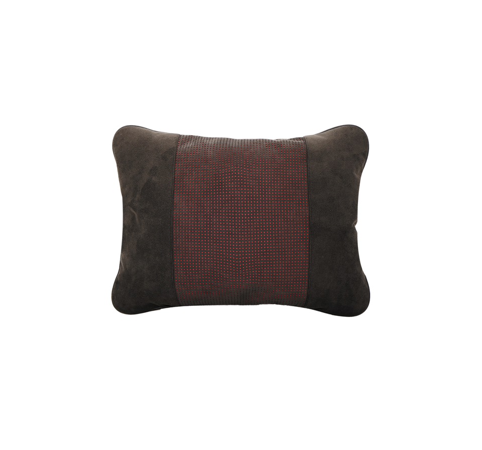 Chamois Back Support Cushion with Red Stripe Embossing - INTERIOREX