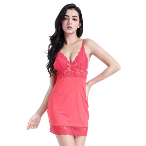 Women's Full Slip Sleepwear Lingerie Strap Night gown Rose Red