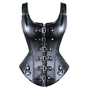 Faux Leather Corset Bustier Basque Top