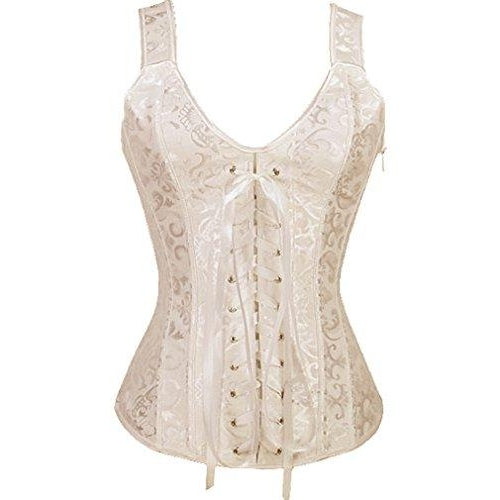Lace up Corset Strap Bustiers Top Beige Overbust