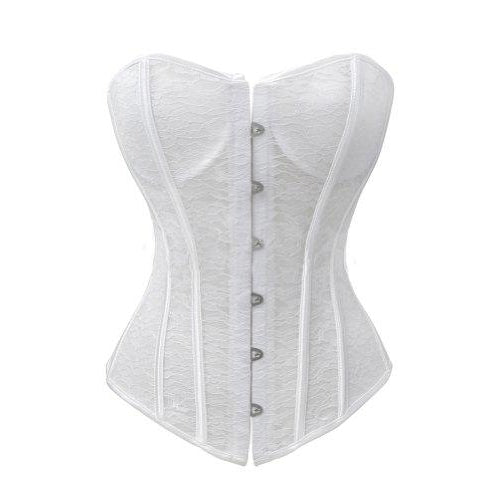 White Lace Overbust Corset