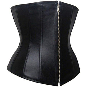 Faux Leather Corset Underbust Zipper Waist Trainer